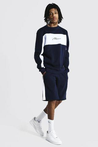 MEN Tall Man Colour Block Short Sweater Tracksuit