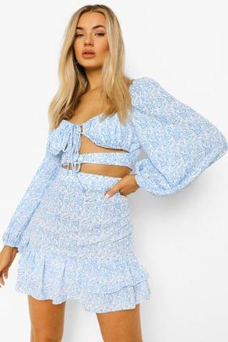 WOMEN Floral Cut Out Ruffle Skirt Co-ord
