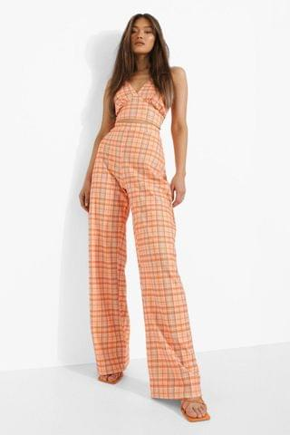 WOMEN Checked Collared Crop & Wide Leg Trousers
