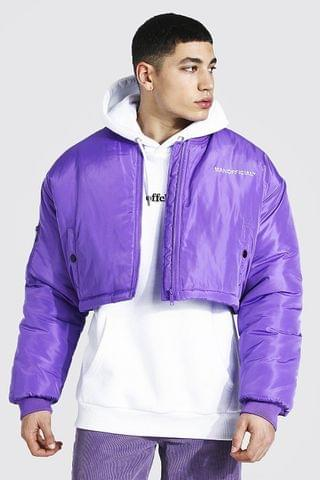 MEN Oversized Short Branded Bomber