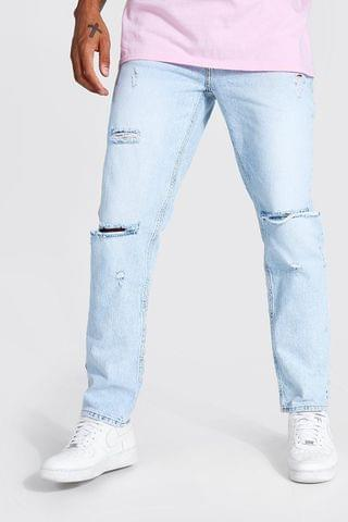 MEN Straight Leg Busted Knee Jean