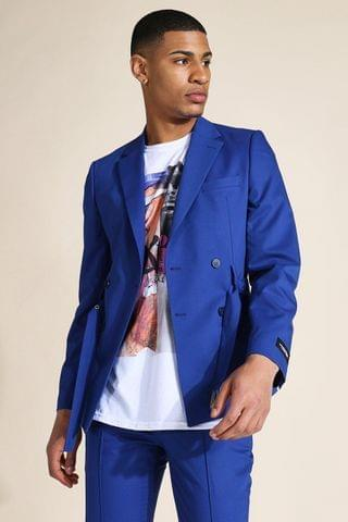 MEN Skinny Belted Double Breasted Suit Jacket