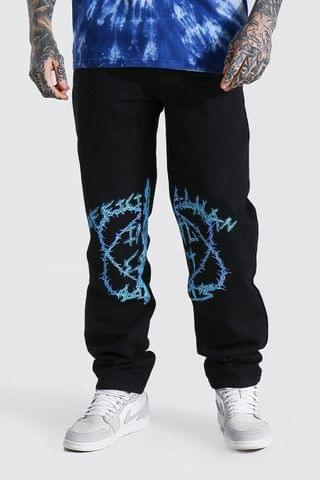 MEN Relaxed Fit Man Barbed Wire Jean