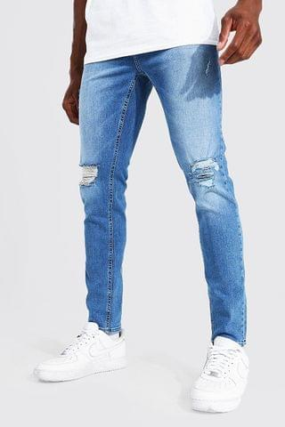 MEN Skinny Stretch Exploded Knee Distressed Jean