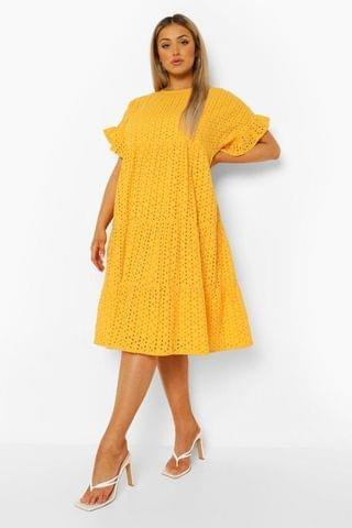 WOMEN Plus Broderie Anglaise Tiered Midi Dress