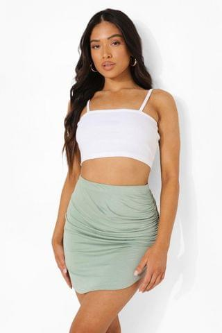 WOMEN Petite Ruched Side Mini Skirt