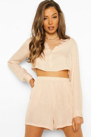 WOMEN Satin Cropped Shirt And Short Co-ord