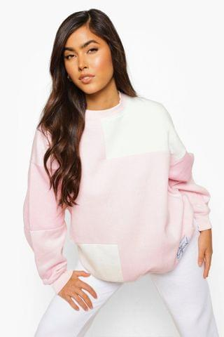 WOMEN Pink Official Label Colour Block Sweater