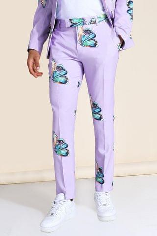 MEN Skinny Butterfly Print Suit Trouser