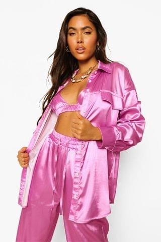 WOMEN Oversized Satin Shirt