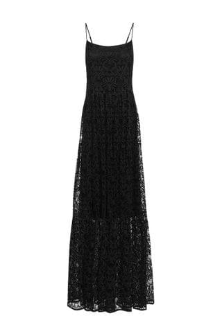 WOMEN Slip-style maxi dress in lace with tiered skirt