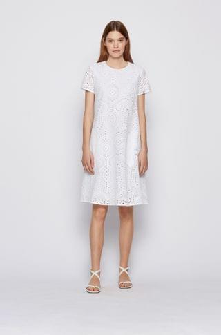 WOMEN Broderie-anglaise dress with ruched cutaway back
