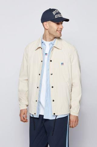 MEN Relaxed-fit jacket in coated cotton with exclusive logo