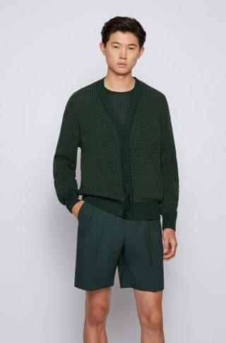 MEN Silk-blend cardigan with mixed structures