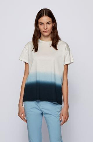 WOMEN Dip-dyed relaxed-fit T-shirt in cotton jersey