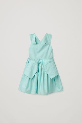KIDSS PATCH POCKET PLEATED DRESS