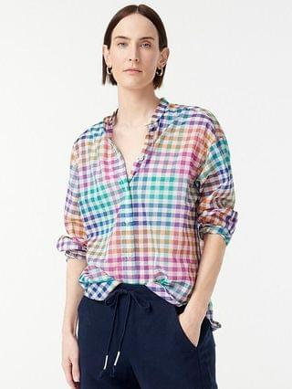 WOMEN Relaxed-fit Thomas Mason for J.Crew collarless shirt in rainbow gingham