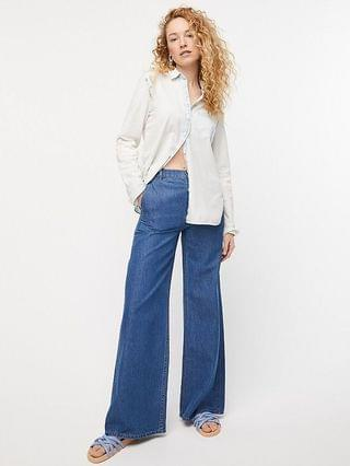 WOMEN Classic-fit bleached-out chambray shirt
