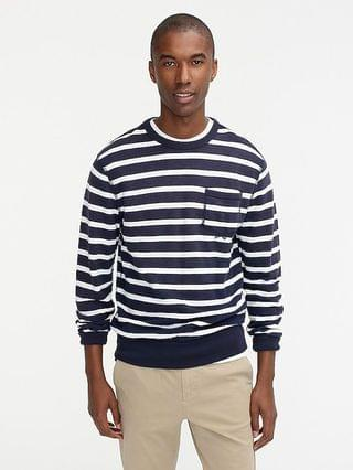 MEN Lightweight sunfaded french terry pocket sweatshirt in stripe