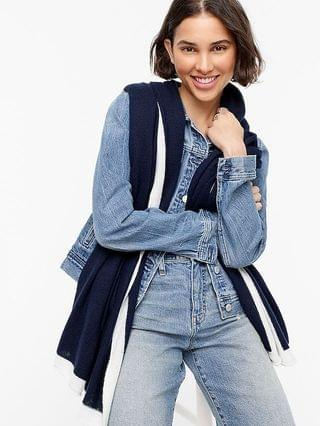 WOMEN Tipped oversized cashmere wrap