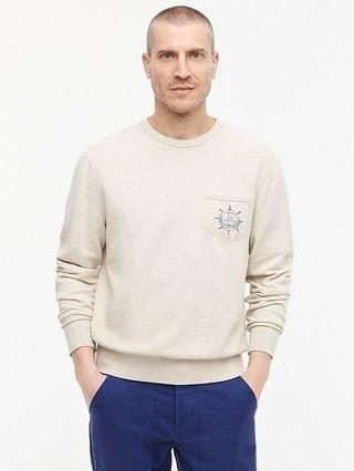 MEN Lightweight sunfaded french terry graphic pocket sweatshirt