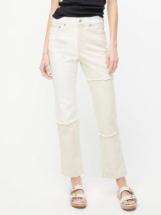 WOMEN High-rise classic straight-leg jean with patches