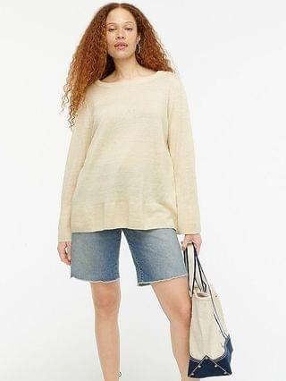 WOMEN Relaxed-fit linen crewneck sweater