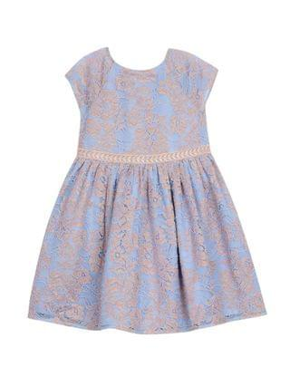 KIDS Little Girls 2 Tone All Over Lace Dress