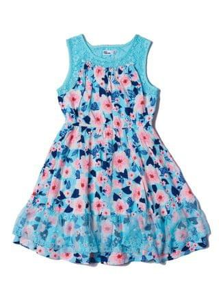 KIDS Big Girls All Over Print Lace Challis Dress