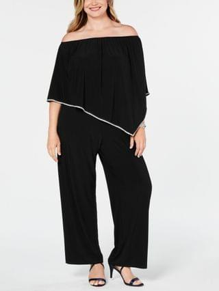 WOMEN Plus Size Off-The-Shoulder Overlay Jumpsuit