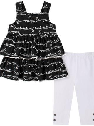 KIDS Little Girls Tiered Babydoll and Capri Leggings Set 2 Piece
