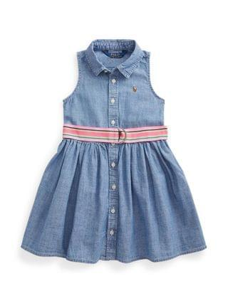 KIDS Little Girls Indigo Chambray Shirt Dress