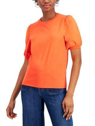 WOMEN Juniors' Cotton Puff-Sleeve Top