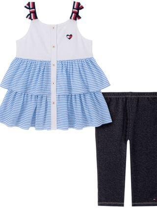 KIDS My Hilfiger Little Girls 2-Piece Flounced Tunic and Capri Jeggings Set