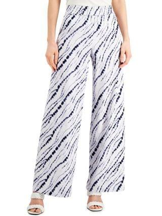 WOMEN INC Petite Earth Printed Pull-On Wide-Leg Pants Created for Macy's