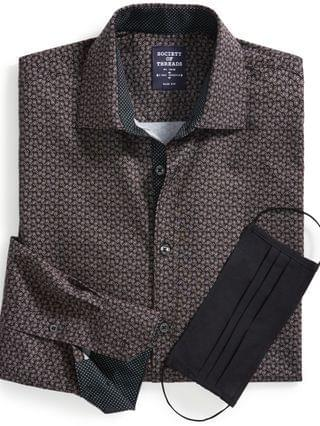 MEN Slim-Fit Non-Iron Performance Stretch Black Paisley-Print Dress Shirt with Pleated Face Mask