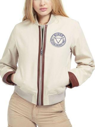 WOMEN Leather-Trim Bomber Jacket