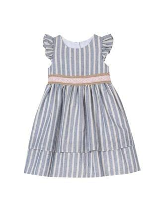 KIDS Little Girls Stripe Easy Dress with 2 Layer Skirt
