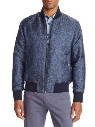 MEN Slim Fit Texture Print Bomber Jacket and a Free Face Mask