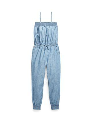 KIDS Big Girls Smocked Indigo-Dyed Chambray Romper