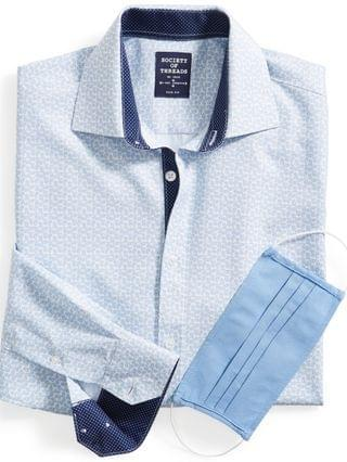 MEN Slim-Fit Non-Iron Performance Stretch White/Blue Paisley-Print Dress Shirt with Pleated Face Mask
