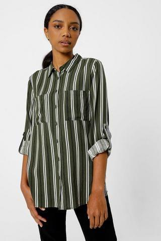 WOMEN Stripe Slouchy Shirt