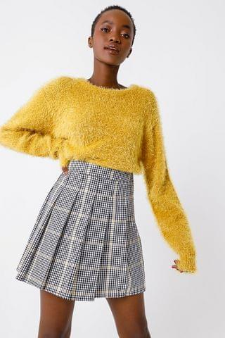 WOMEN Check Pleated A-line Skirt