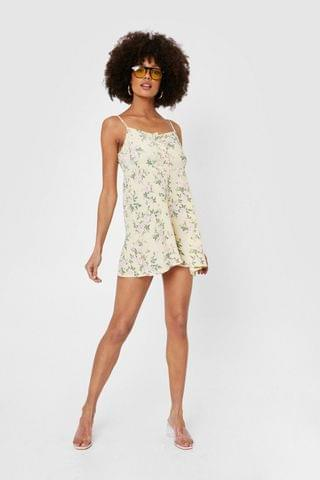 WOMEN Floral Print Strappy Relaxed Mini Dress