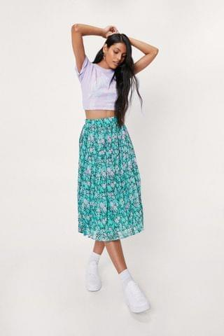 WOMEN Chiffon Floral Print Pleated Midi Skirt