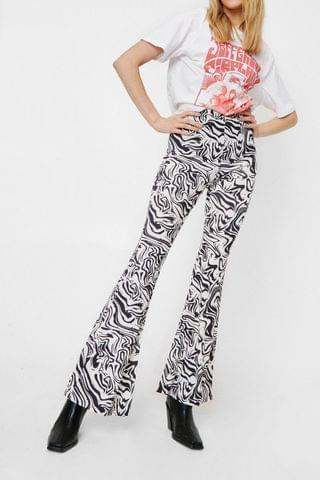 WOMEN Abstract Print High Waisted Flare Pants