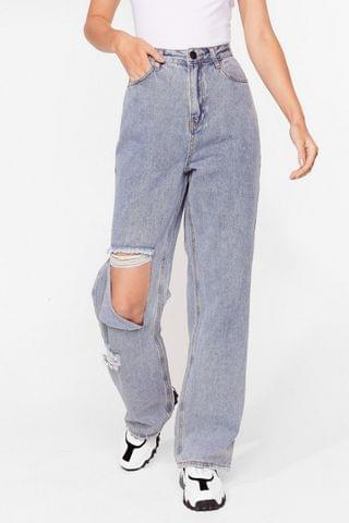 WOMEN Relaxed Ripped Straight Leg Jeans