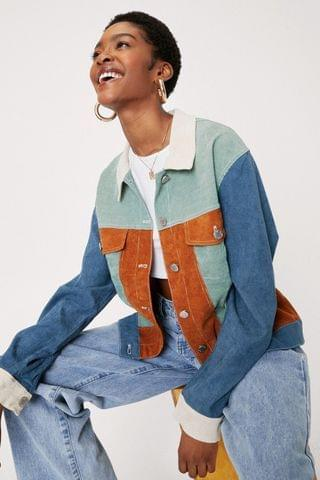 WOMEN Colorblock Corduroy Relaxed Button Down Jacket