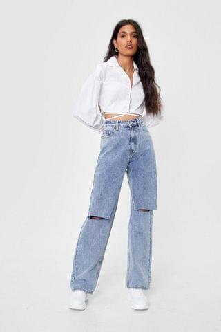 WOMEN Distressed Knee High Waisted Wide Leg Jeans