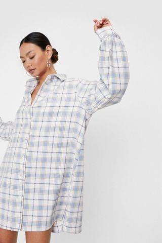 WOMEN Petite Oversized Check Shirt Mini Dress